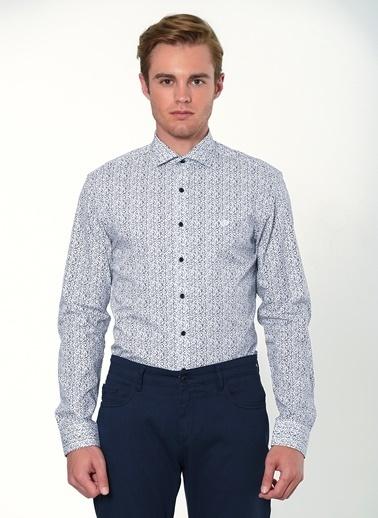 Beymen Business Desenli Klasik Uzun Kollu Gömlek Beyaz